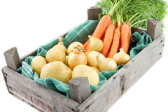 Auction crate with vegetables Stock Photos