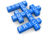 Auction crossword (clipping path included) Stock Photography