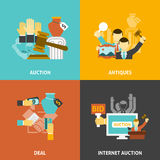 Auction Deal Icons Set Royalty Free Stock Photography