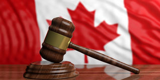 Auction gavel on Canada flag background. 3d illustration. Auction gavel on Canada flag background Stock Photography