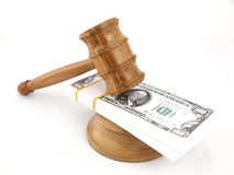 Auction gavel and dollars Royalty Free Stock Images