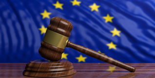 Auction gavel on EU flag background. 3d illustration Royalty Free Stock Image