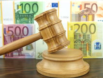 Auction gavel and euro Stock Photos