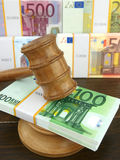 Auction gavel and euro Royalty Free Stock Image