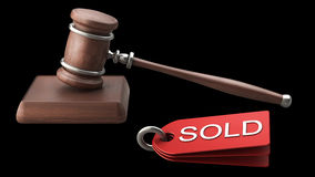 Auction gavel isolated on black. Background High resolution 3D Royalty Free Stock Photo