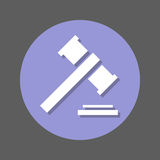 Auction, gavel, judge hammer flat icon. Round colorful button, circular vector sign with shadow effect. Flat style design. Royalty Free Stock Photography