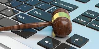 Auction gavel on a keyboard. 3d illustration. Auction gavel on a laptop.3d illustration Stock Image
