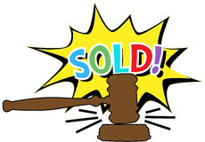 Auction gavel Sold cartoon icon. Online auction bid gavel hits stand to end sale in SOLD cartoon style icon Royalty Free Stock Photo