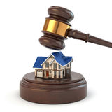 Auction. Gavel, sound block and house. 3d Stock Photo