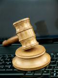 Auction gavel  and technology Royalty Free Stock Photography