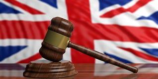Auction gavel on UK flag background. 3d illustration. Auction gavel on great Britain flag background. 3d illustration Royalty Free Stock Image