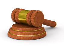 Auction gavel on white. Isolated 3D image Royalty Free Stock Images