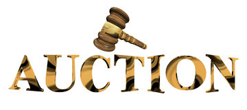 Auction in Gold. Auction with a hammer made from gold 3D royalty free illustration