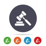 Auction hammer icon. Law judge gavel symbol. Stock Images