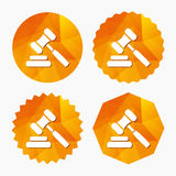 Auction hammer icon. Law judge gavel symbol. Royalty Free Stock Photo