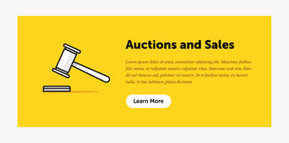 Auction hammer illustration. Announcement about new bids. Web banner. Flat style design. Royalty Free Stock Images