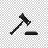 Auction hammer vector icon. Court tribunal flat icon Stock Images