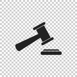Auction hammer vector icon. Court tribunal flat icon Royalty Free Stock Photos