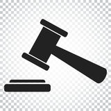 Auction hammer vector icon. Court tribunal flat icon. Simple bus Royalty Free Stock Image