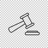 Auction hammer vector icon in line style. Court tribunal flat ic Royalty Free Stock Image