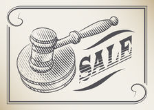 The auction hammer and the word sale. Engraving style Royalty Free Stock Images