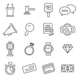 Auction House or Auction Icons Thin Line Vector Illustration Set. This image is a vector illustration and can be scaled to any size without loss of resolution Royalty Free Stock Photography