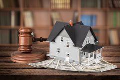 Auction. House Currency Residential Structure Gavel Real Estate Legal System Royalty Free Stock Photos