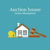 Auction house. Vector. Auction house. Concept bidding on home. Gavel, house, cash, coins isolated on background. Buying, selling or foreclosure. Vector Royalty Free Stock Photography