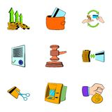 Auction icons set, cartoon style Stock Images
