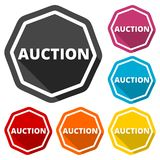 Auction icons set with long shadow Royalty Free Stock Images