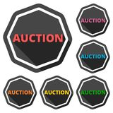 Auction icons set with long shadow Royalty Free Stock Photos
