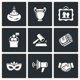 Auction icons set. Vector Illustration. Royalty Free Stock Photos