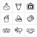 Auction icons set. Vector Illustration. Royalty Free Stock Photography