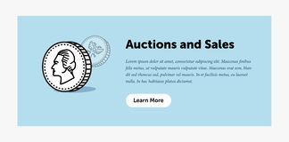 Auction illustration. Old ancient coin. Announcement about new bids. Web banner. Flat style design. Stock Photos