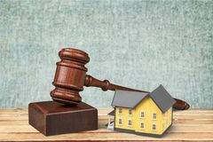 Auction. Law house residential structure legal system real estate gavel Stock Image