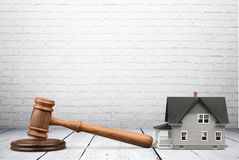 Auction. Law house residential structure legal system real estate gavel Stock Photo