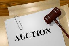 Auction - legal concept. 3D illustration of AUCTION title on legal document Stock Images