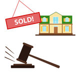 Auction. Lot sold, the sale of the house at . Flat design,  illustration Stock Photography