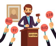 Auction with man holding gavel and people raised hands with bid paddles vector concept. Auction business, bid and sale, trade commercial illustration Royalty Free Stock Photography