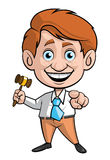Auction man. Isolated illustration of Auction man with the gavel and pointing to the front Stock Image