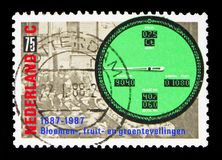 Auction and a modern auction clock, Sale by auction, 100 and Groningen Agricultural Society 150 serie, circa 1987. MOSCOW, RUSSIA - MAY 13, 2018: A stamp printed stock photo