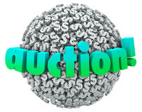 Auction Money Dollar Signs Symbols Ball Bid Item Buyer Seller. Auction word on a ball or sphere of dollar signs or symbols as a winning bidder buys an object or Royalty Free Stock Images