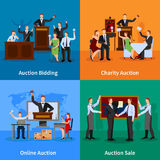 Auction People 4 Flat Icons Stock Photo