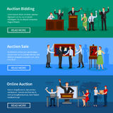 Auction People 3 Horizontal Banners.Set Royalty Free Stock Photo