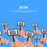 Auction poster with hands holding BID signs. Auction public sale poster with human hands holding BID signs. Potential buyers making higher bids to get goods and Royalty Free Stock Photo