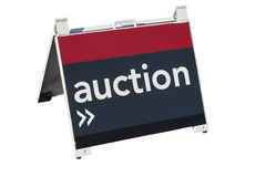 For Auction. A sign advising of a property for auction on a white background Royalty Free Stock Image