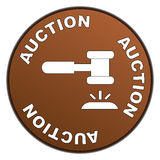 Auction sign. An illustration of a round sign with a gavel and the text auction Royalty Free Stock Photo