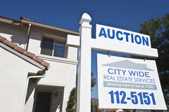 Auction Sign Outside House Stock Photo