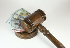 Auction Or Trial Concept With Auctioneers  Judges Gavel And Scattered Money Heap On Wooden Table, Close Up, Royalty Free Stock Photography