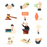 Auction vector icons set with hammer hands and money isolated Royalty Free Stock Images